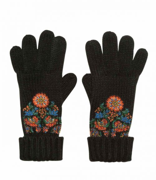 Desigual Black Winter Gloves with Colourful Design