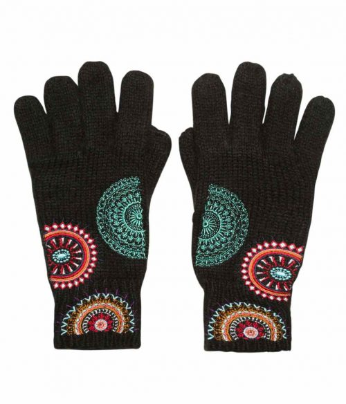 Desigual Gloves with Mandalas Embroidery
