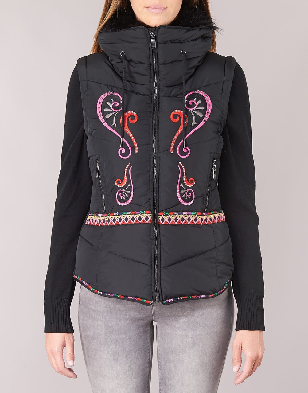 Desigual Jacket 2019 Winter 18wwewb3 Margadan Embroidery Black aaZxn7W