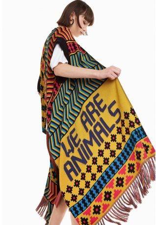 Desigual Poncho We are animals