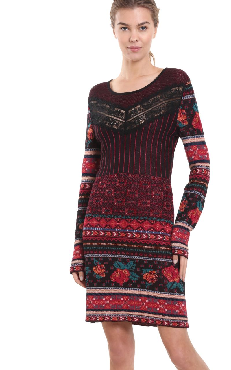 Desigual Knitted Dress Naila 18wwvf15 Patchwork Design