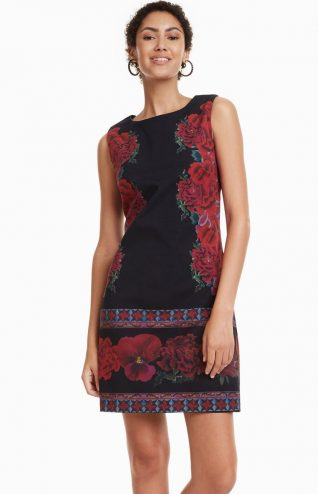 Desigual Dress Kimera Black Red Flowers