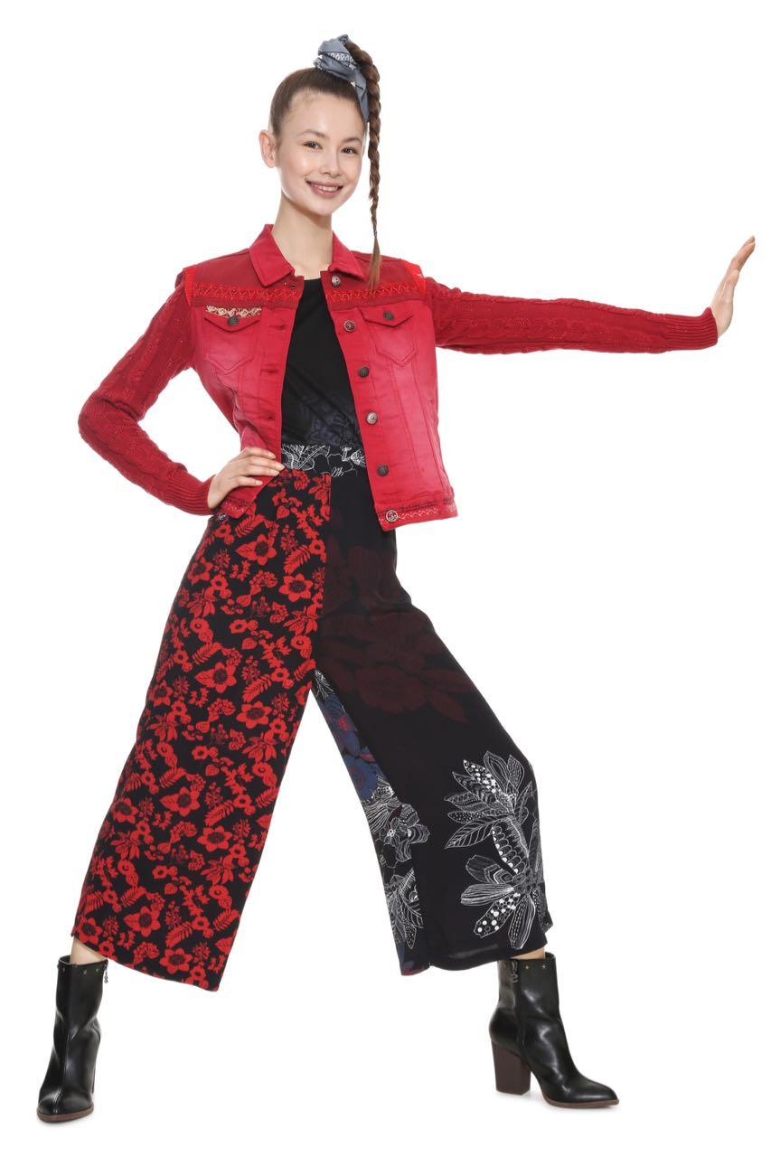 Desigual Denim Jacket Exotic Tiger Red 18wwen05 Fall