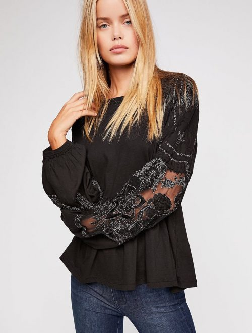 Free People Embroidered Penny Tee Black