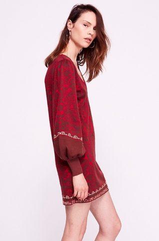 Free People Color Block Swit Sweater Mini Dress Rusty Red Fall Winter