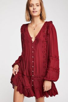 Free People Snow Angel Mini Dress Wine