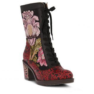 L'Artiste Red Floral Booties