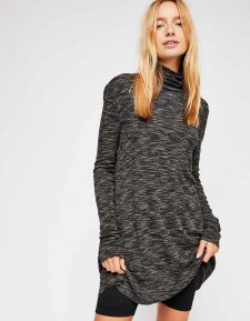 Free People Black Long Turtleneck