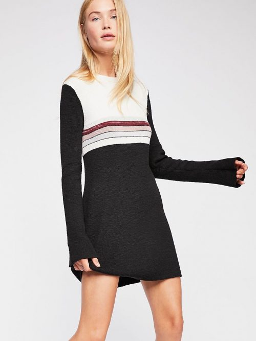 Free People Sweater Dress Colorblock Black and White