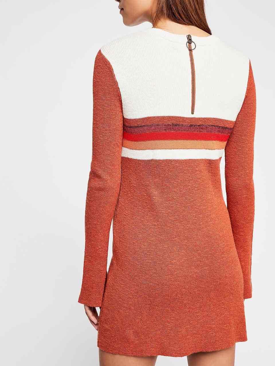 Free People Color Block Swit Sweater Mini Dress Rusty Red
