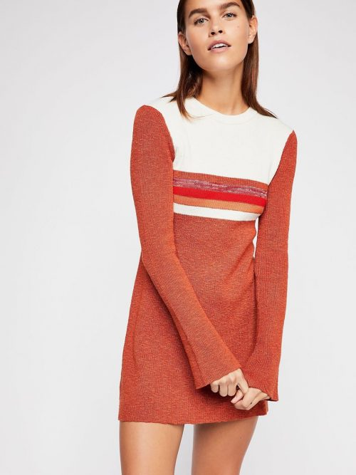 Free People Sweater Dress Colorblock Rusty Red