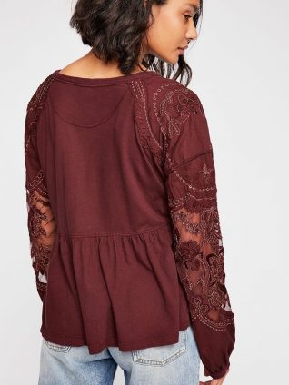 Free People Penny Tee Lace Embroidery Wine