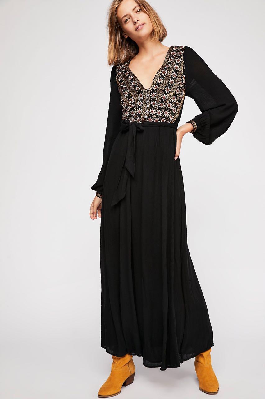 Free People Heart S Desire Embroidered Midi Dress Black