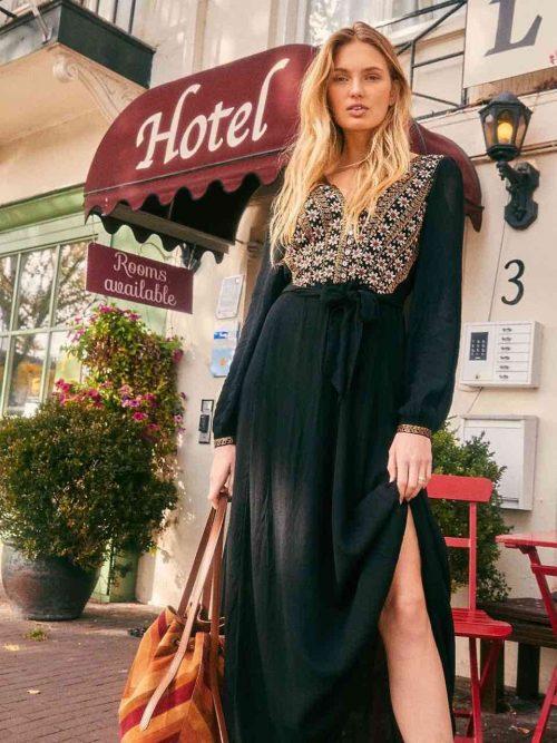 Free People Heart's Desire Embroidered Midi Dress Black
