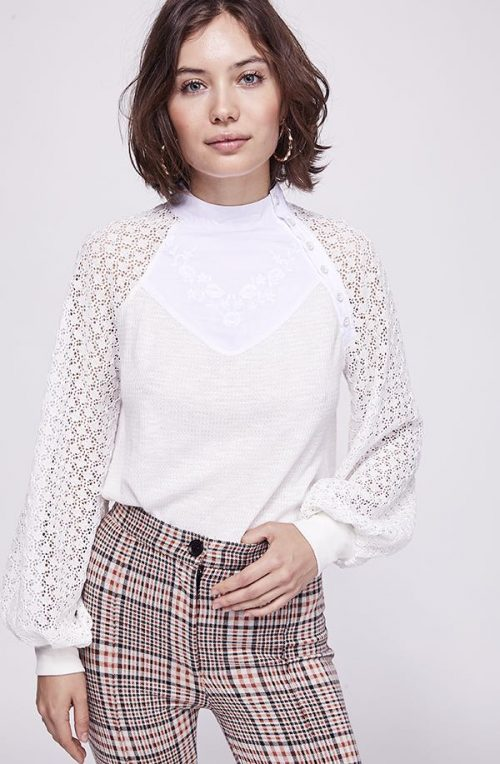 Free People White Thermal Top
