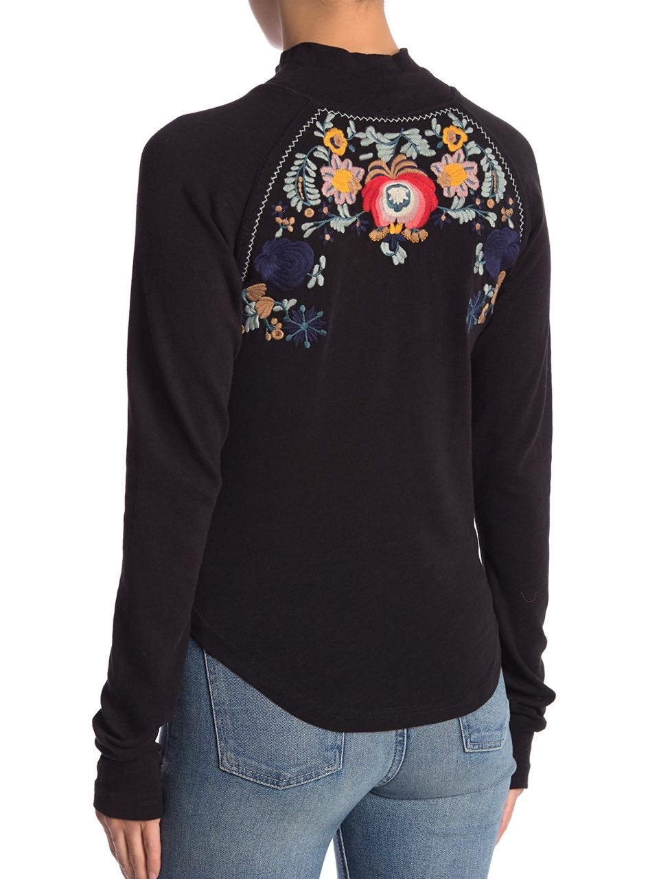 Free People Disco Rose Top With Embroidery Black Winter