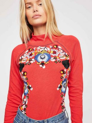 Free People Disco Rose Top Red