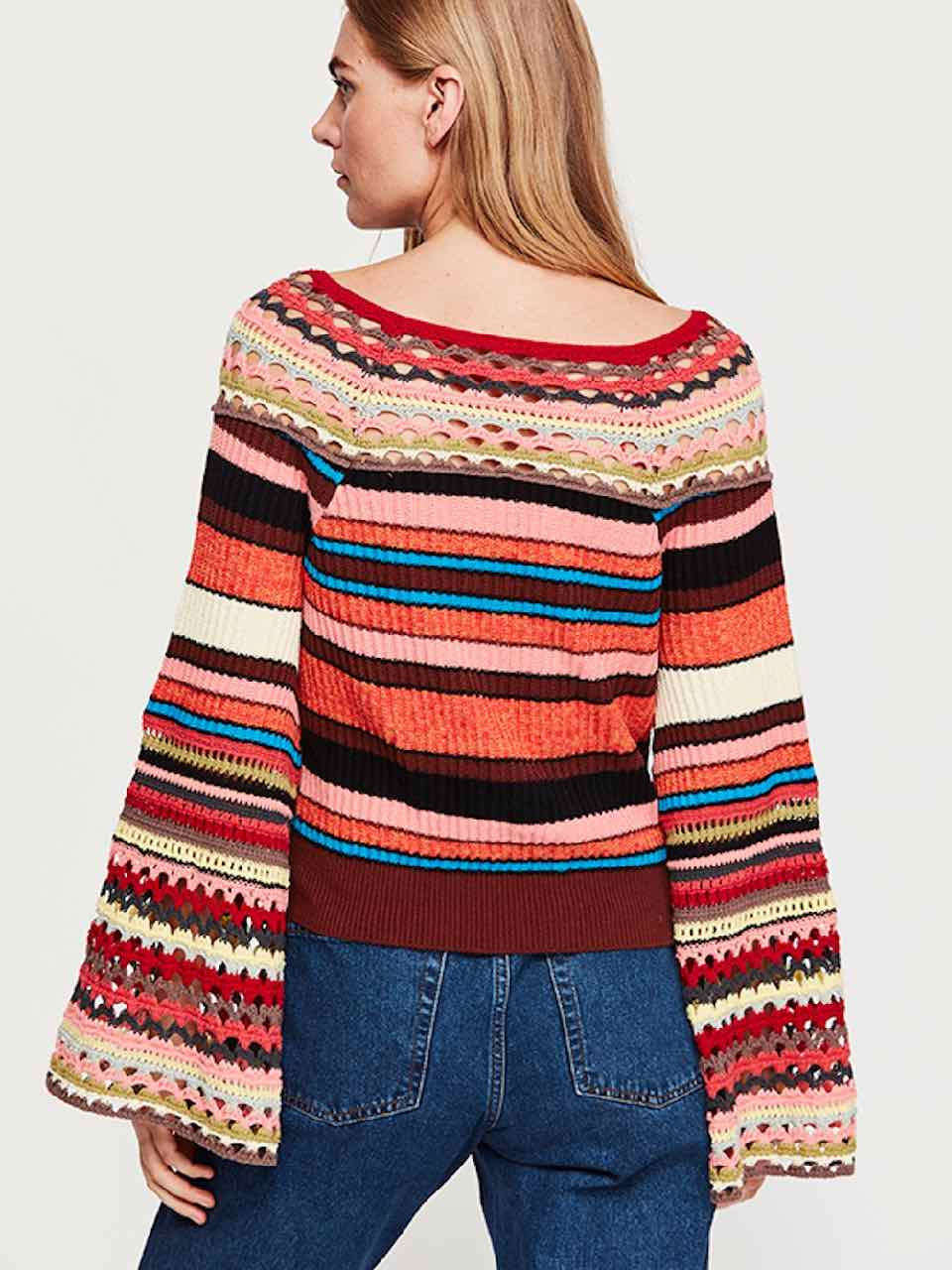 Free People Heart And Soul Sweater Multi Stripes Winter