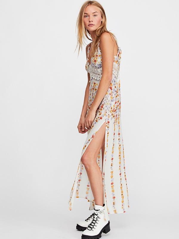 9f13e88ab3254 Free People CLAIRE PRINTED MAXI Dress Slip Ivory | Canada USA