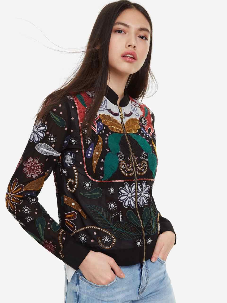 dfc2cf2e2f8 DESIGUAL Jacket Paisley KARIN Embroidery 19SWEW55 Summer 2019