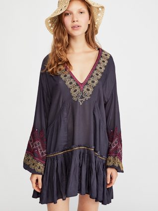 Free people Wild One Embroidered Mini Black