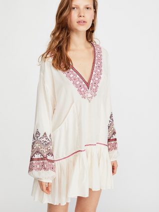 Free People Short Embroidered Dress