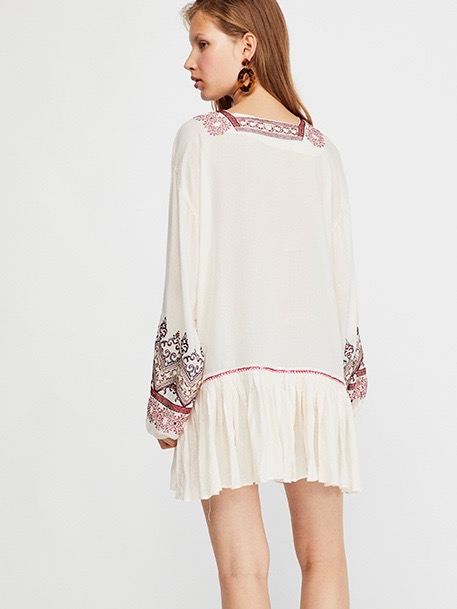 06de7d05796d Free People WILD ONE EMBROIDERED MINI DRESS Ivory   Canada US