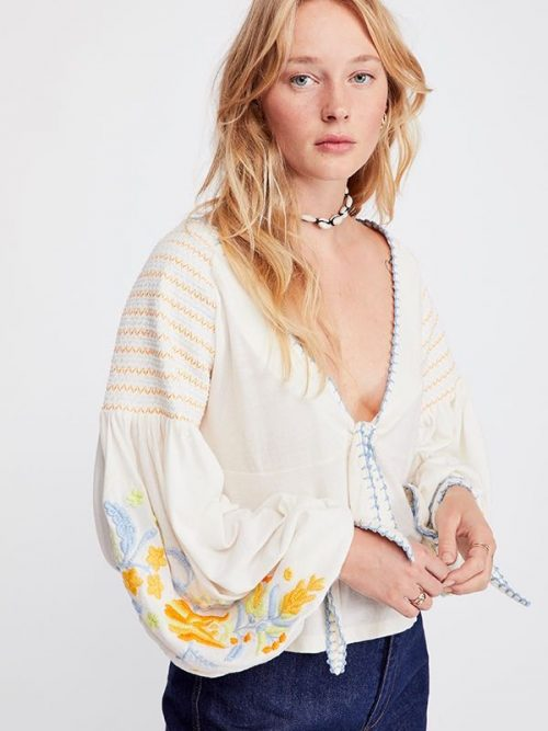 Free People Kara Top with Embroidery