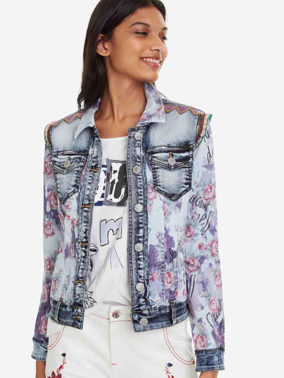 8951ec52f63 DESIGUAL Denim Jacket ROSES Floral 19SWED31 Summer 2019