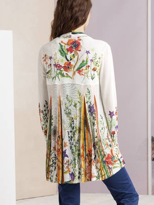 ea24e24cde29 IVKO Long Cardigan Floral Print Back Pleats 191526 White Summer 2019