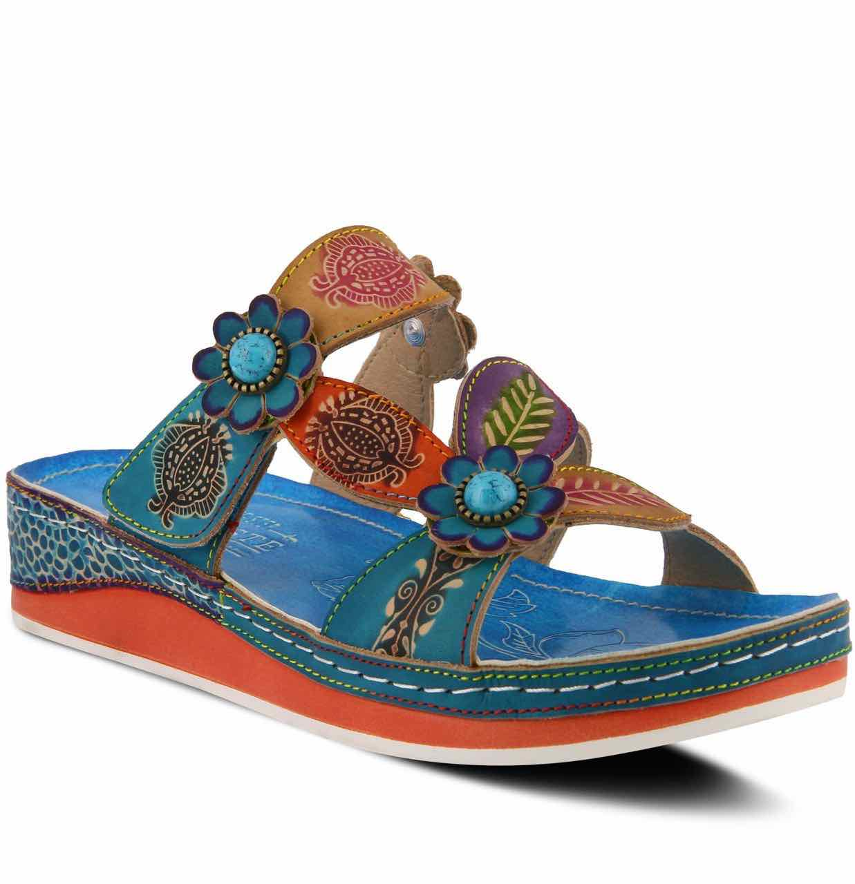 55e42a7aa3 L'Artiste by Spring Step PILLOW Slide Sandals Turquoise Canada USA
