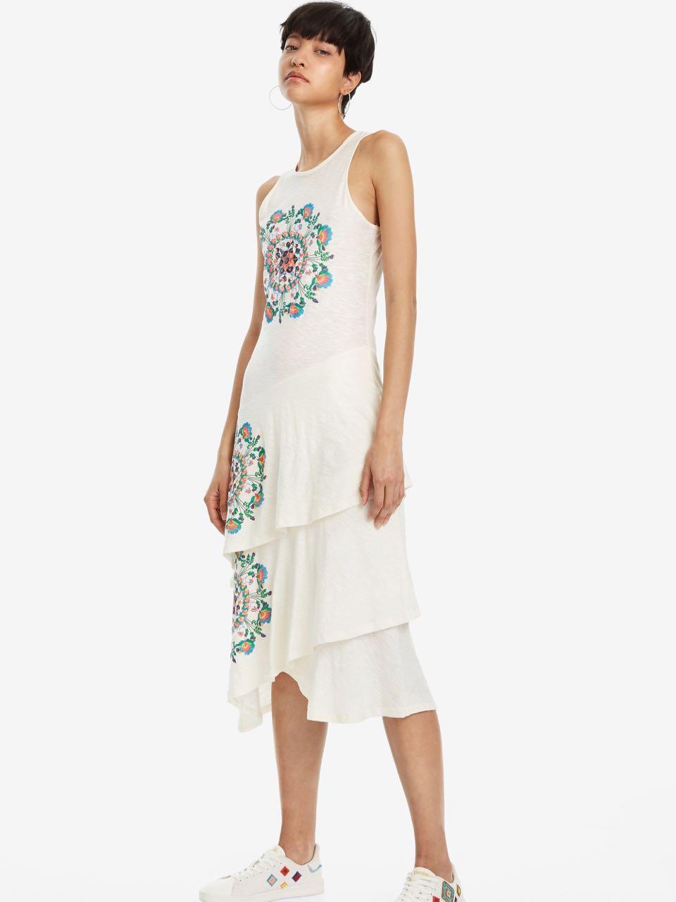 Desigual White Midi Dress Chelsea Ruffles 19swvk02 Summer 2019