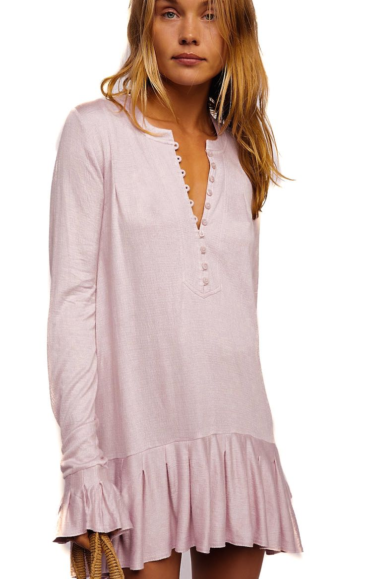 96f431ef88b Free People YOUR GIRL TUNIC with Ruffles PInk Lavender Summer 2019
