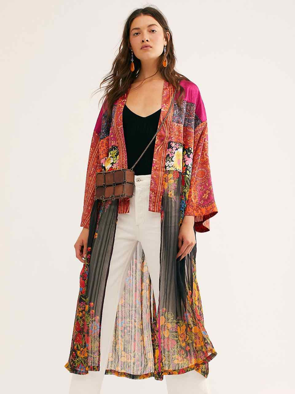 Free People The Young Love KIMONO Multicoloured Patchwork