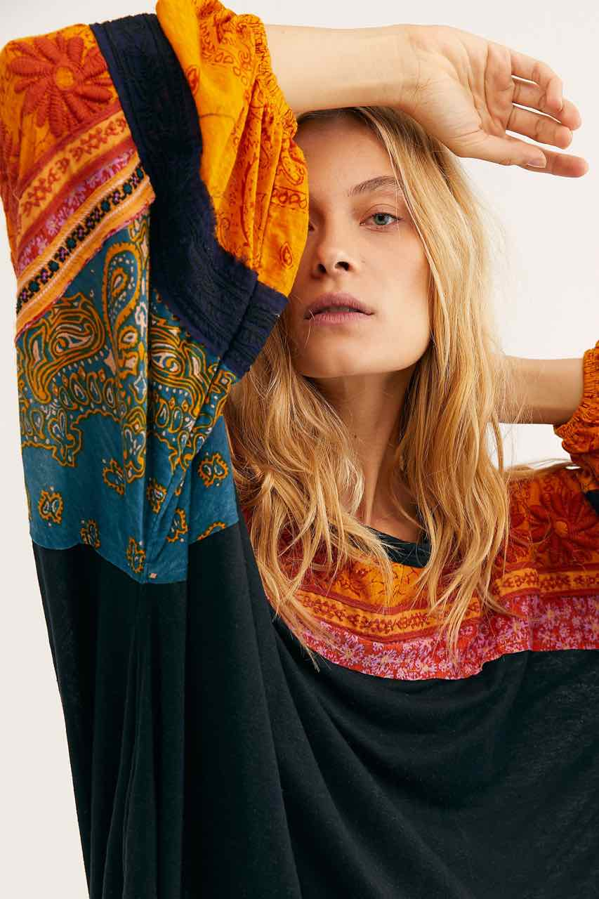 Free people So Fine Smocked Floral Crepe Blouse in Blue