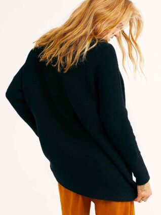 Details about  /65/% OFF Free People HOFFMAN Surplice Pullover Knit Tee Faded Black OB532140 XS//S