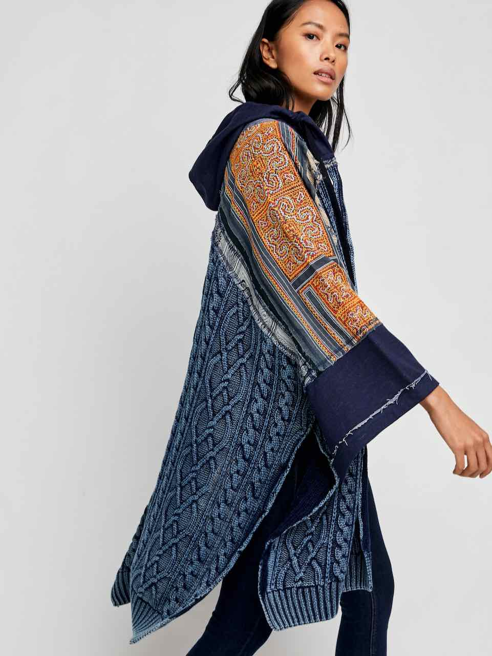 Tunic Indigo Textile Poncho Gift for Her P1938 One Size Fits All